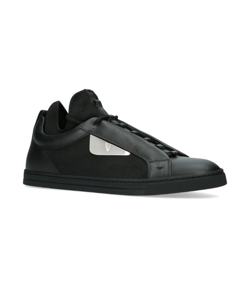 Fendi Leather Contrast Trim Sneakers