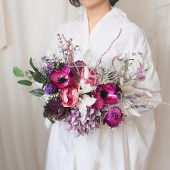 NEW アネモネとパープルのグラデーションブーケ◆アジサイ・バラ・ユーカリ・かすみ草色々な花々をあしらって。