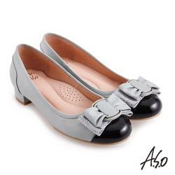 A.S.O 職場通勤 健步通勤層次蝴蝶結低跟鞋-灰