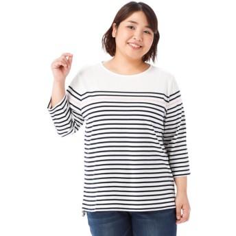 レディース <大きいサイズ> 婦人 パネルボーダー7分袖Tシャツ