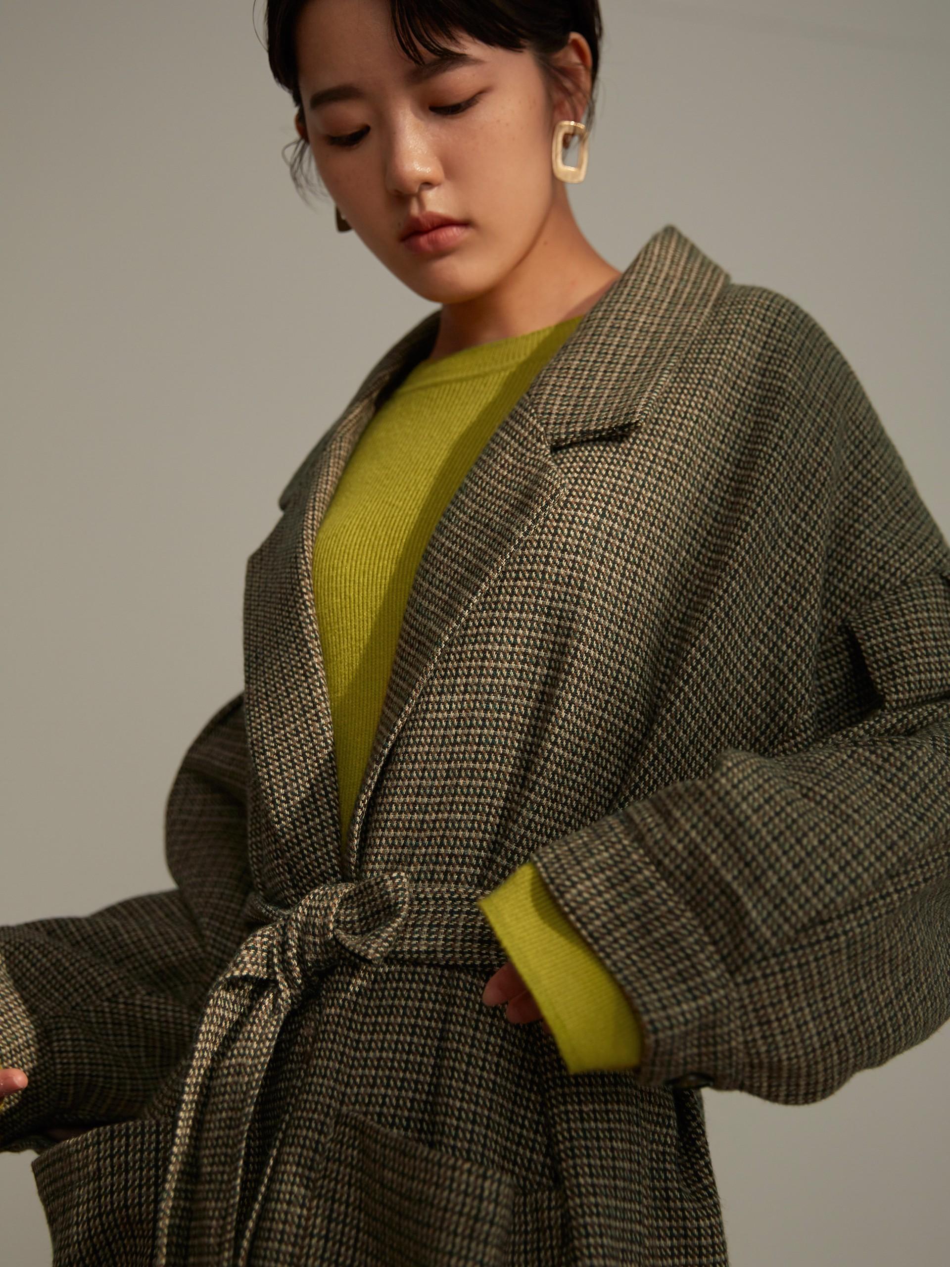 大口袋袖壓褶大衣(附腰帶)-mouggan
