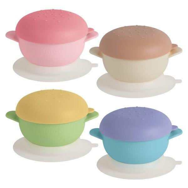 【Simba 小獅王】美味漢堡吸盤碗-海洋藍/青檸綠/甜心粉/花生咖