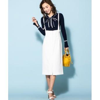 QUEENS COURT/クイーンズコート サスペンダー付きタイトスカート ホワイト M
