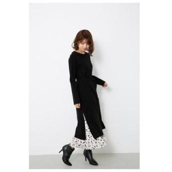 リエンダ rienda Pattern Pleats SET Knit OP (ブラック)