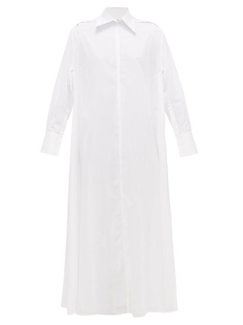 Valentino - Side-split Cotton-voile Shirt Dress - Womens - White