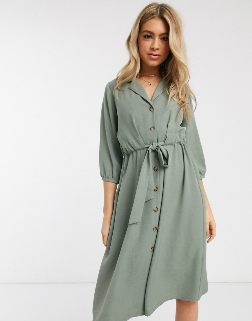 ASOS DESIGN button through midi shirt dress with ruched waist in khaki-Green