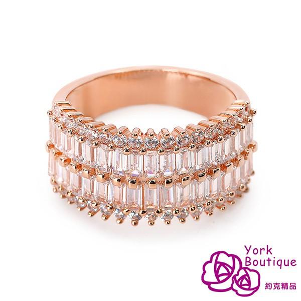 【約克精品】玫瑰銀河方晶鋯石玫瑰金戒指