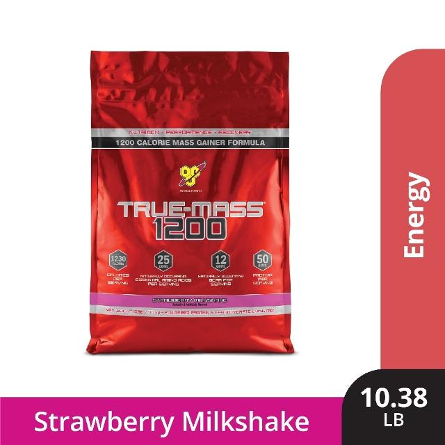 《美國畢斯恩》Truemass 1200超能高熱量乳清綜合蛋白10磅(草莓)
