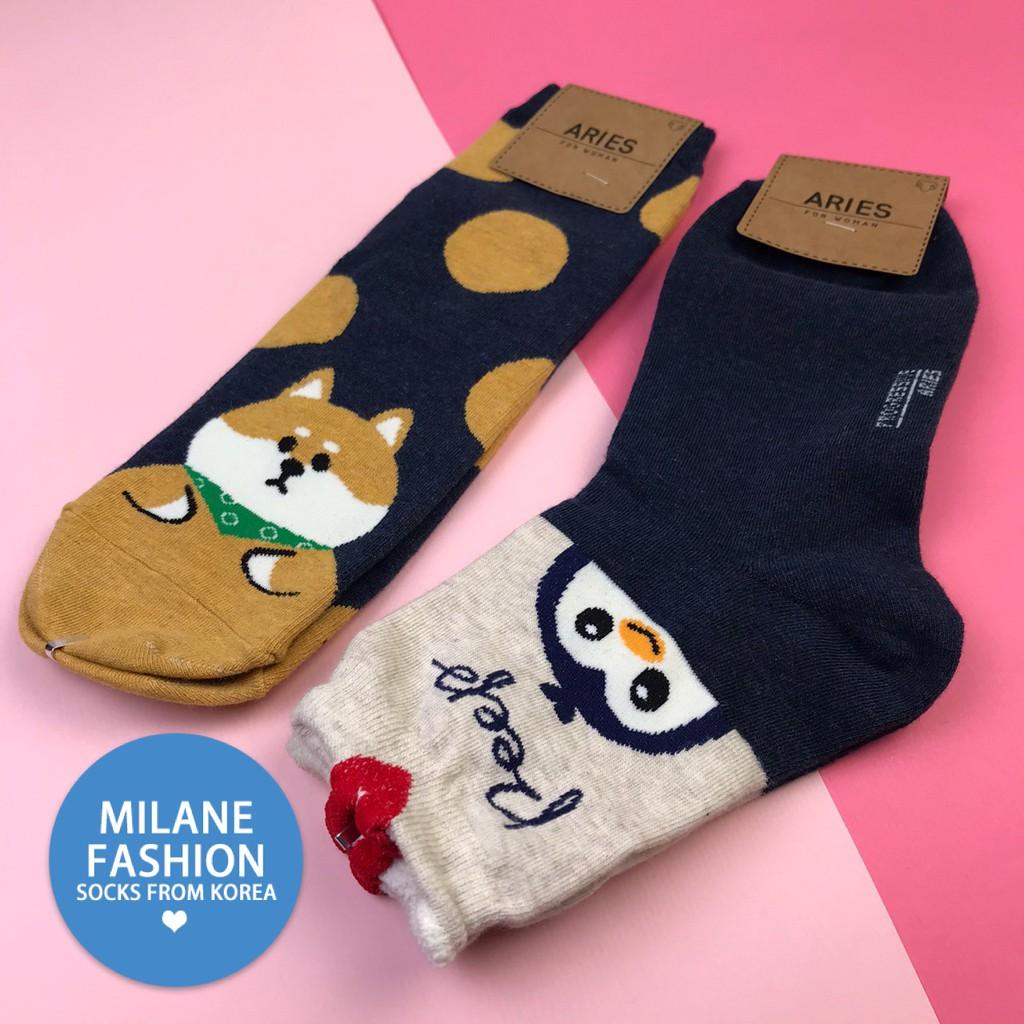 【韓襪專區】正韓貨 韓國襪 現貨 1/2襪 長襪 動物襪 動物系列 可愛卡通 企鵝 柴犬 圓點