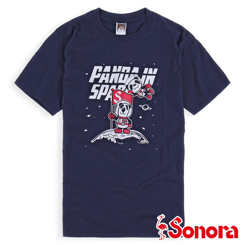 【SONORA 尚諾奈】[貓熊熊登月]圓領T-shirt - 中性(灰黑/丈青)