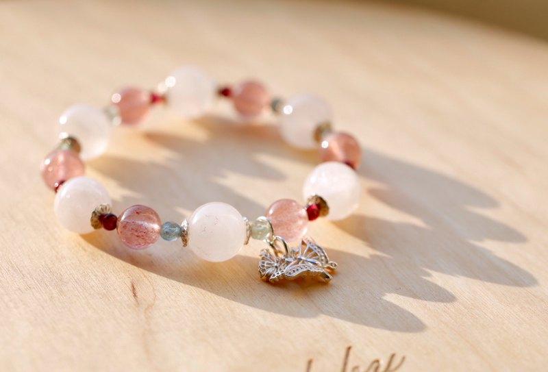 ||雙飛|| 925銀雙蝶墜花園系手環。草莓晶/紫牙烏/摩根石/磷灰石