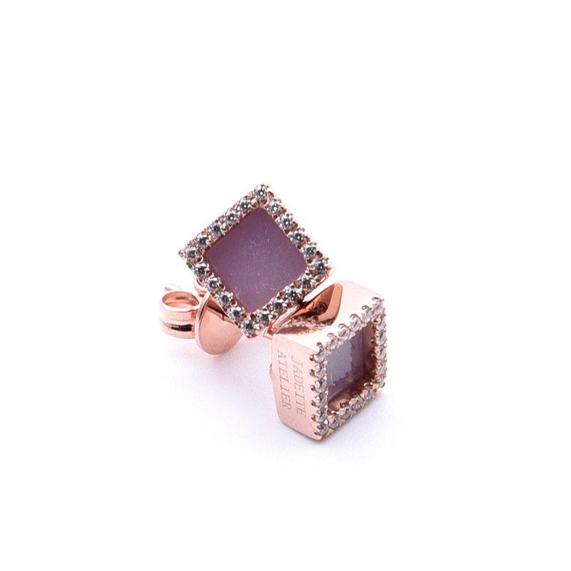 紫玉耳環 方形 - 天然翡翠 - 保證A玉