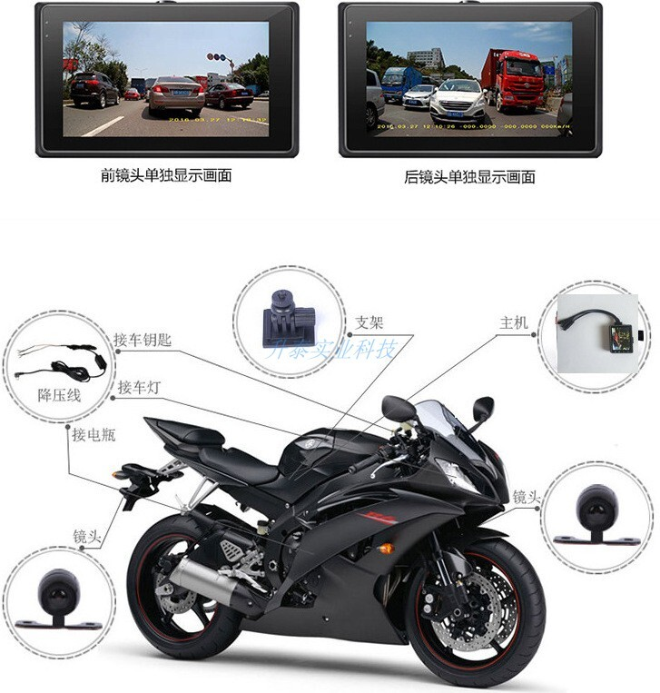 機車行車記錄器雙鏡頭機車行車記錄器,金擂王超高清分割雙畫面兩用行車記錄器