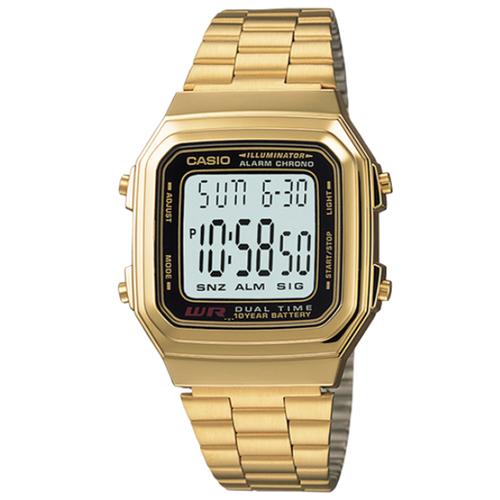 CASIO 卡西歐多時區鬧鈴電子鋼帶錶-金 / A178WGA-1A (原廠公司貨)