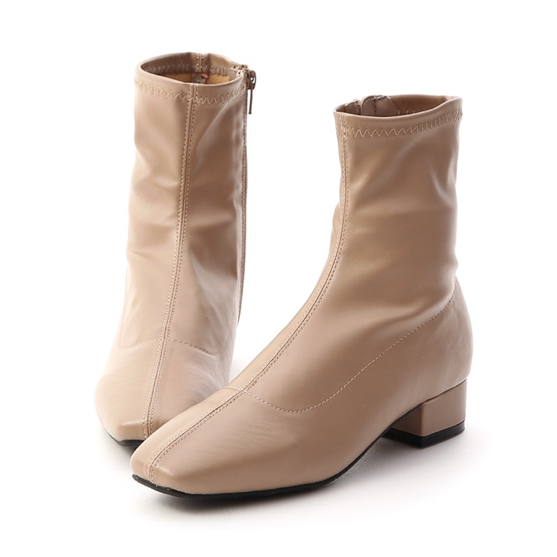 D+AF  人氣指標 素面車線方頭低跟襪靴