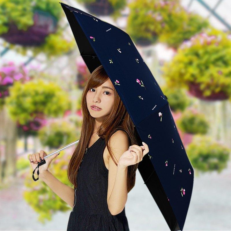 【TDN】鈴蘭花UL超輕易開收降溫三折傘黑膠晴雨傘B7617A