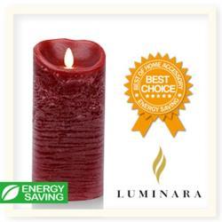 【Luminara 擬真火焰 蠟燭】 耶誕紅肉桂香氛水紋蠟燭禮盒(大) +加贈充電電池組