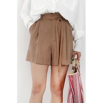【公式/フリーズマート】《Sシリーズ対応商品》麻調合繊タックショートパンツ/女性/パンツ/ブラウン/サイズ:M/(表生地)レーヨン 80% ナイロン 20%(裏生地)ポリエステル 100%