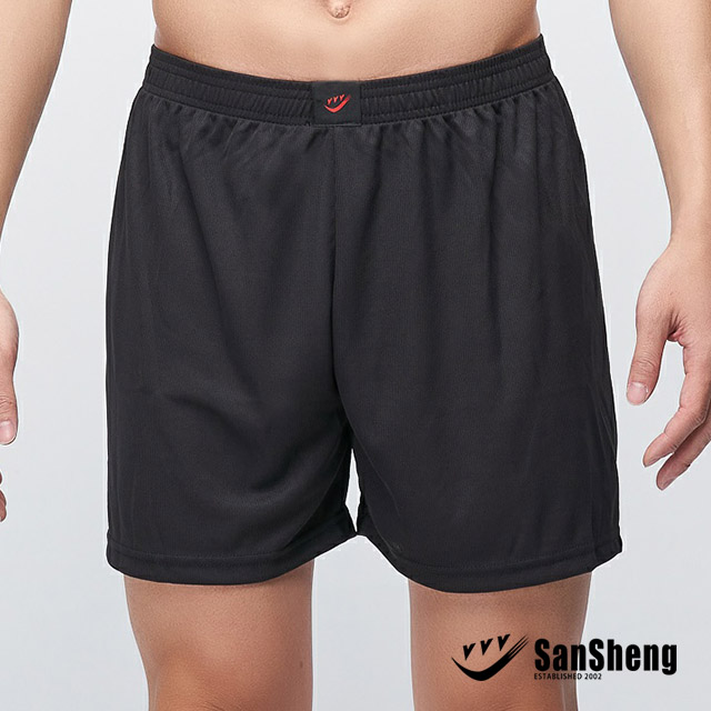 【SanSheng 三勝】MIT吸濕排汗平口褲-黑3V-303