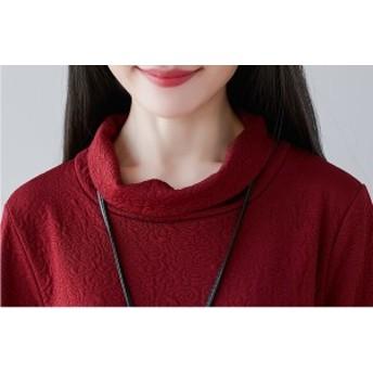 ワンピースドレス ロング リネン コットン ワインレッド 黒 袖刺繍 Aライン  大きいサイズ  オールインワン ウエストルーズ 30代 40代 マ