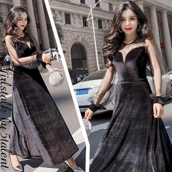 しっとりとした起毛ベロアスウェードx透け感レースのロングスリーブ★ブラック ミモレ丈 フレア 広がる動きのあるスタイル 綺麗なドレス