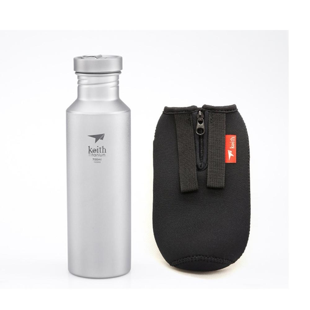 鎧斯Keith Ti32純鈦運動水壺附K0012隔熱水壺套.登山露營大口徑隨手杯健身水瓶