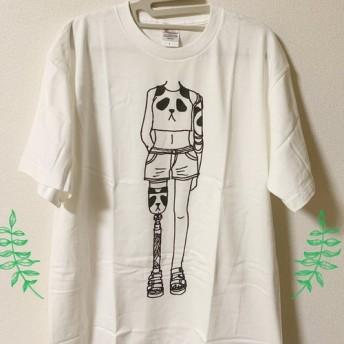 義手・義足デザインプリントTシャツ (パンダ柄) メンズLサイズ