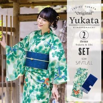 京都きもの町オリジナル 浴衣2点セット「生成り 蔦と鳥」 浴衣、帯の浴衣2点セットss2006ykl50
