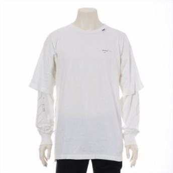オフホワイト コットン Tシャツ S メンズ ホワイト 19-20AW DIAG BATS DOUBLE SLEEVE T-SHIRT