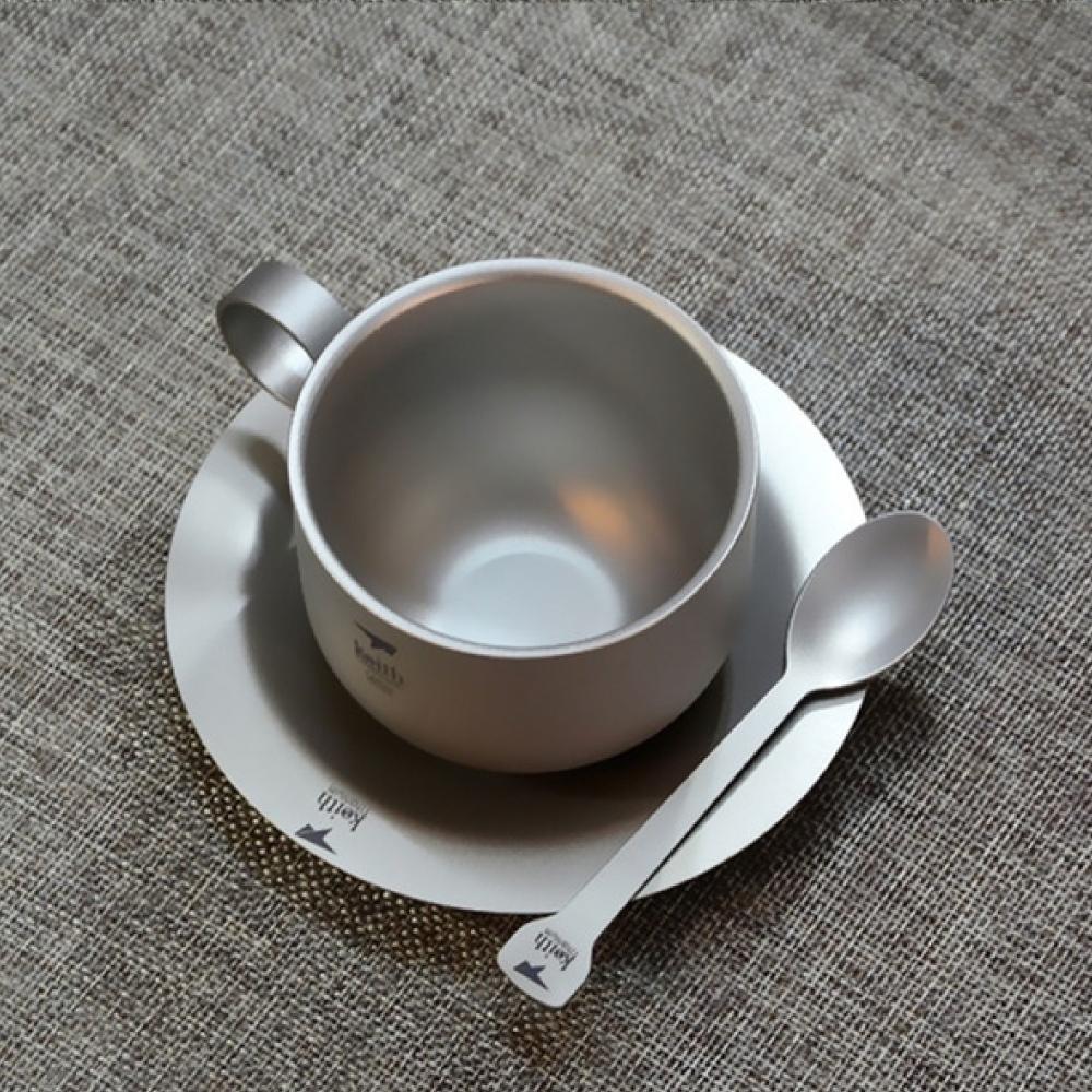 鎧斯Keith Ti3601純鈦杯咖啡杯盤組附收納袋