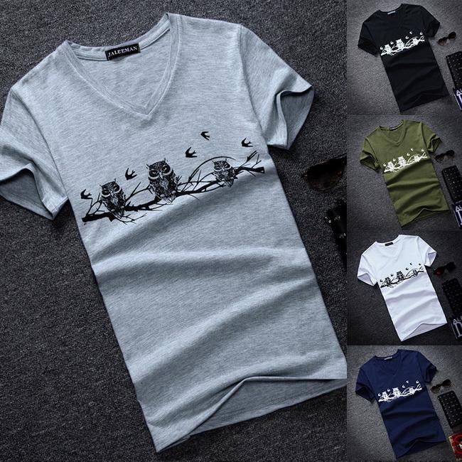 FOFU-(任選2件288)短袖T恤個性V領小可愛貓頭鷹印花短袖T恤上衣【09B1385】