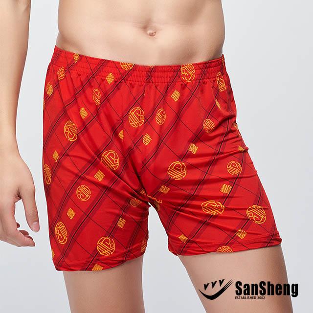【SanSheng 三勝】吉祥如意大紅平口褲-富貴壽考3V-204