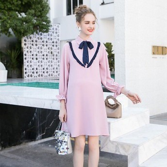 マタニティドレス 結婚式 お呼ばれ ワンピース ドレス リボン ピンク マタニティドレス フォーマル パーティードレス kh-1051