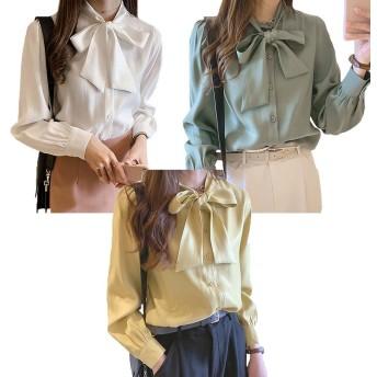 レディース ボウタイブラウス シャツ トップス リボン リボンシャツ ワイシャツ カジュアル 長袖 女性 通勤