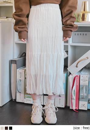 韓國空運 - 鬆緊腰皺褶感純色長裙 裙子