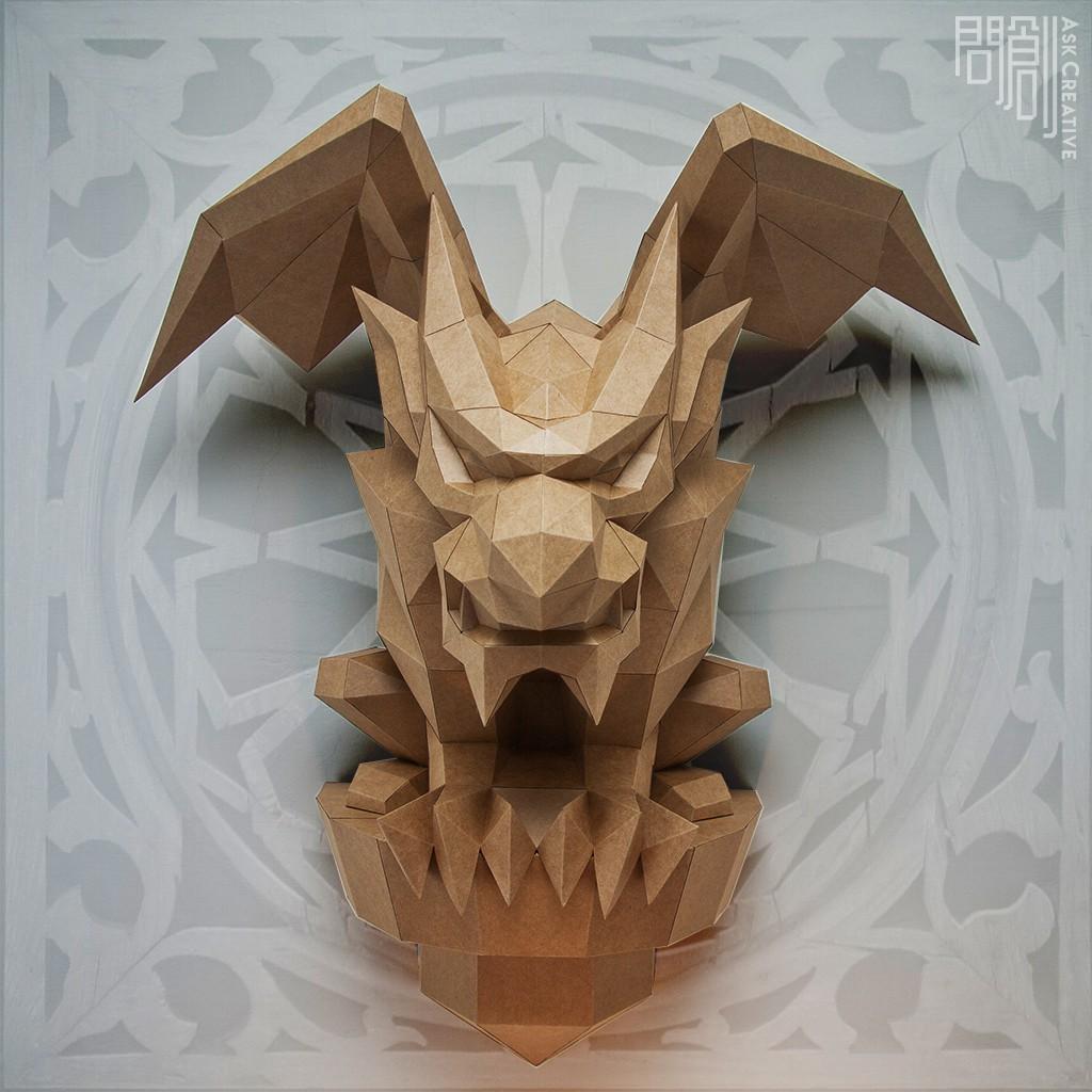 問創設計 DIY手作3D紙模型 禮物 擺飾 神秘 石像 鬼 奇幻系列 - 石像鬼壁飾