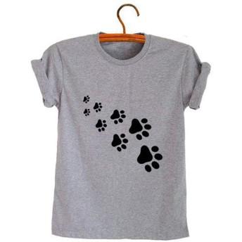 Madaoo 動物の足跡 プリント柄 Tシャツ レディース メンズ クルーネック 半袖 トップス ゆったり 合せやすい (M, グレー)