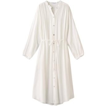SALE 【60%OFF】 ROSE BUD ローズバッド バンドカラーシャツワンピース ホワイト