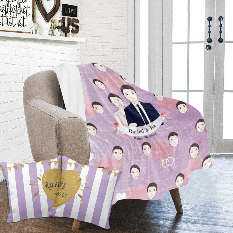 客製化插畫毛毯及抱枕套裝-淺紫Sweet home款式及間條抱枕
