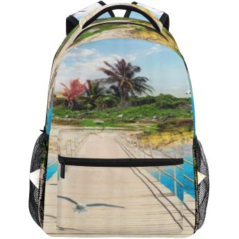 EILANNA リュックサック、木製の橋アイランドビーチリゾートヤシの木スタイルのカラフルな虹、軽量 大容量 男女兼用 おしゃれ 可愛い リュックバックパッ 通学 通勤 外出 アウトドア 多機能