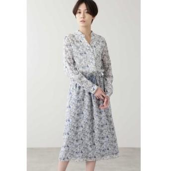 HUMAN WOMAN/ヒューマンウーマン ◆リバティワンピース ブルー系3 M