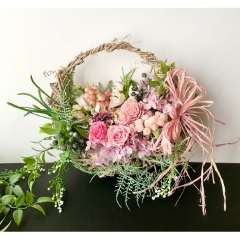 Basket wreath Rose 「受注制作」