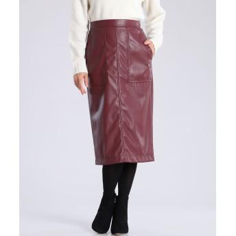 7-ID concept フェイクレザータイトスカート ひざ丈スカート,ボルドー4