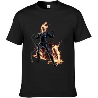 Ghost Rider メンズ 3D Tシャツ オールシーズン インナーシャツ 筋トレ カットソー Tシャツ 原宿系 丸襟 短袖 吸汗 速乾 トレーニング スポーツ XL