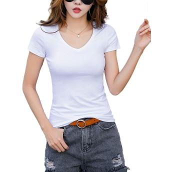 [桜と倫] レディース Vネック Tシャツ 半袖 トップス カジュアル シンプル コットン Tシャツ カットソー ホワイト L