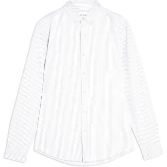 《セール開催中》TOPMAN メンズ シャツ グレー S コットン 98% / ポリウレタン 2% GREY AND WHITE STRIPE STRETCH SKINNY OXFORD SHIRT