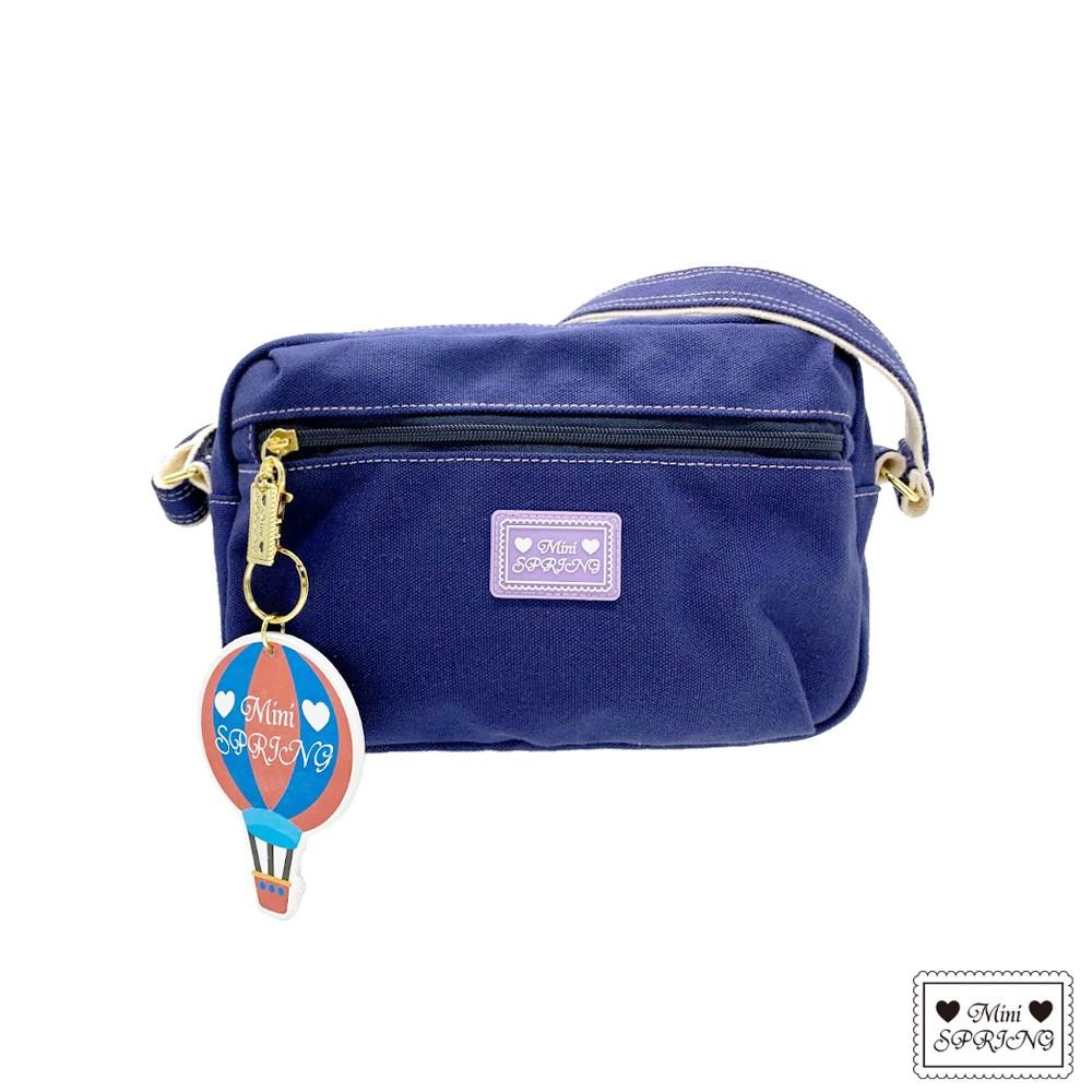 MINI SPRING-一起旅行吧熱氣球帆布側背包-深海藍