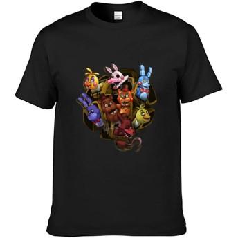 Five Nights At Freddy's メンズ Tシャツ 100% 綿 丸首 夏服トップス おしゃれ カットソー ストレッチ 柔らかい 快適 春夏 L