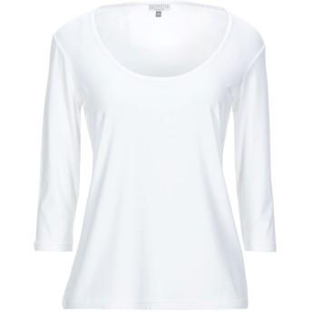 《セール開催中》DONATELLA BRUNELLO レディース T シャツ ホワイト 46 レーヨン 95% / ポリウレタン 5%