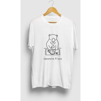 ジャパニーズピザ お好み焼き クマ 動物イラストTシャツ